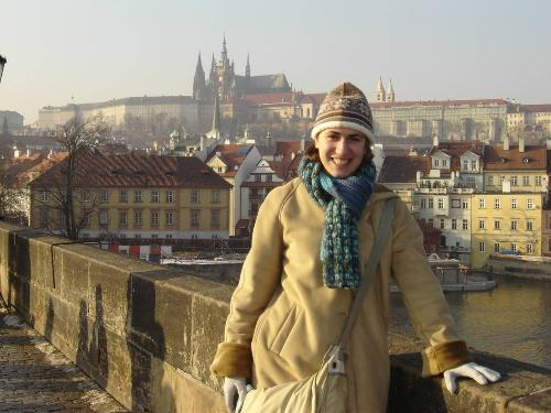 UR student Lauren Jennings on the bridge in Prague